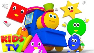 Five Little Shapes | Shapes Song | Learn Shapes | Baby Songs | Kids Tv Bob The Train Cartoons