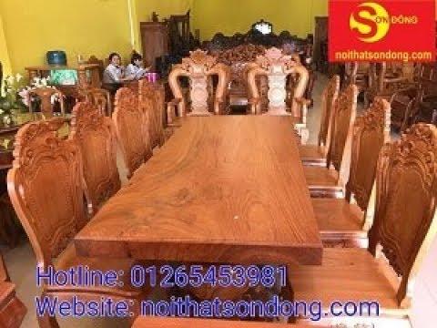 Bộ bàn ăn 8 ghế , mặt bàn gỗ nguyên khối dày 10cm cực đẹp