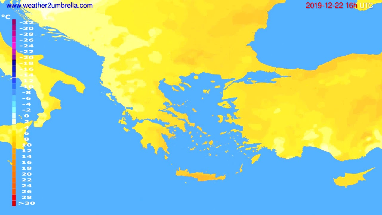 Temperature forecast Greece // modelrun: 12h UTC 2019-12-21