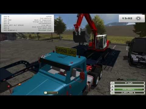 Farming Simulator 2013: Oversize Mod Showcase - Trucks, Trailers and an Excavator...?