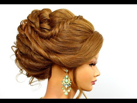 Romantic hairstyles for medium long hair. Updo hairstyles
