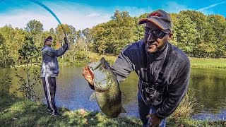 Video POND FISHING FOR FALL BASS!!! (WINDY SPINNERBAIT/NASTY'S THUMPER KIND OF DAY) MP3, 3GP, MP4, WEBM, AVI, FLV Mei 2019