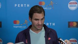 Switzerland's Roger Federer fronts the press following his 7-6 6-7 7-6 loss to Germany's Alexander Zverev.