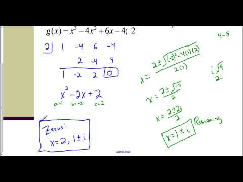 Lesson 6.7 (Part 2) – Finding Zeros using Synthetic Division & the Quadratic Formula