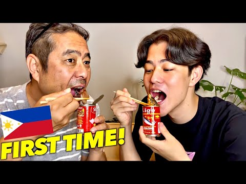 JAPANESE FAMILY TRIES SARDINES IN CAN! (FILIPINO FOOD) | THEY CRIED..