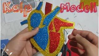 İlk olarak kalp modelimizin çıktısını aldık daha sonra sarı keçeyi kalp şeklinde kestik,Kırmızı keçeyle kalbin sol tarafını,mavi keçeyle sağ tarafını kestik. Daha sonra  kırmızı ve mavi keceleri silikonladık ve modelimiz tamamlandı