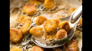 It's astonishing how easy it is to make pillowy soft Pumpkin Gnocchi bathed in a gorgeous Sage Butter Sauce...  http://www.recipetineats.com/easy-pumpkin-gnocchi/