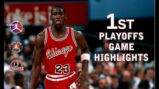 For the first time of history this is the complete highlights of Michael Jordan playing in his first playoffs game against Milwaukee...