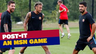 Who has the best aim? Leo Messi, Suárez or Neymar Jr? In this game the idea is to hit the post. See if the can do it.