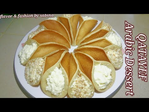 Qatayef With Cream \কাতাইফ \ Arabic Dessert || Flavour & Fashion By Sabina