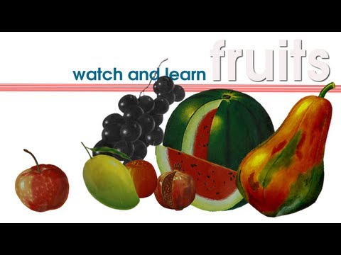 learn fruit names - Video for helping kids learn fruit names. Fruits covered in this video: apple, mango, papaya, orange, pomegranate, watermelon and grapes.