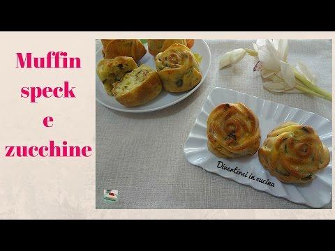 video ricetta: muffin salati con speck e zucchine.