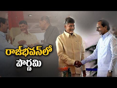 KCR and Chandrababu Meets in Governor's Dinner