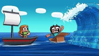 Minecraft - BUILD A BOAT TO SURVIVE THE TSUNAMI! (Tsunami vs Raft)