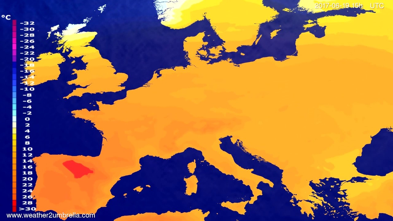 Temperature forecast Europe 2017-06-17