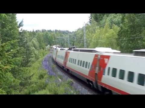 Finnish PENDOLINO highspeed trains on the line Helsinki- Turku, Finland !