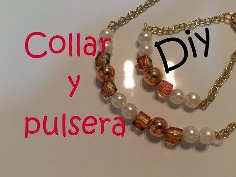 Diy Necklace, Collar y pulsera con perlas