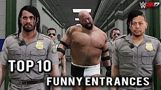 """WWE 2K17 - Top 10 Craziest Funny Entrances """"GIMMICK SWAP"""" Cena, Big Show, Lesnar & More! (PS4 & XB1)Here is Top 10 Craziest Funny Entrances """"GIMMICK SWAP"""" of wwe biggest legends!Which is your favorite Move?Thank you so much for watching the video! If you could leave a like if you enjoyed that would be awesome, your support Motivates me ........! Also if you have not done already make sure to subscribe and turn on notifications so you never miss a video when i post! Thanks once again :)HAVE A GREAT DAY TO ALLL........... KEEP SMILINGkeep Supporting...... keep Loving.....Suggest me some cool ideas for my upcoming WWE 2K17 Videos.....in the Comment Section Below!For More on WWE 2K17 and WWE Games Visit http://www.thesmackdownhotel.com/ Follow me on Twitter : https://Twitter.com/MrCreeperHDYTPlatform : XBOX ONECapture Card : Elgato HD60Game : WWE 2K17Production Music courtesy of Epidemic Sound: http://www.epidemicsound.comRoyalty Free Music by http://audiomicro.com/royalty-free-music"""