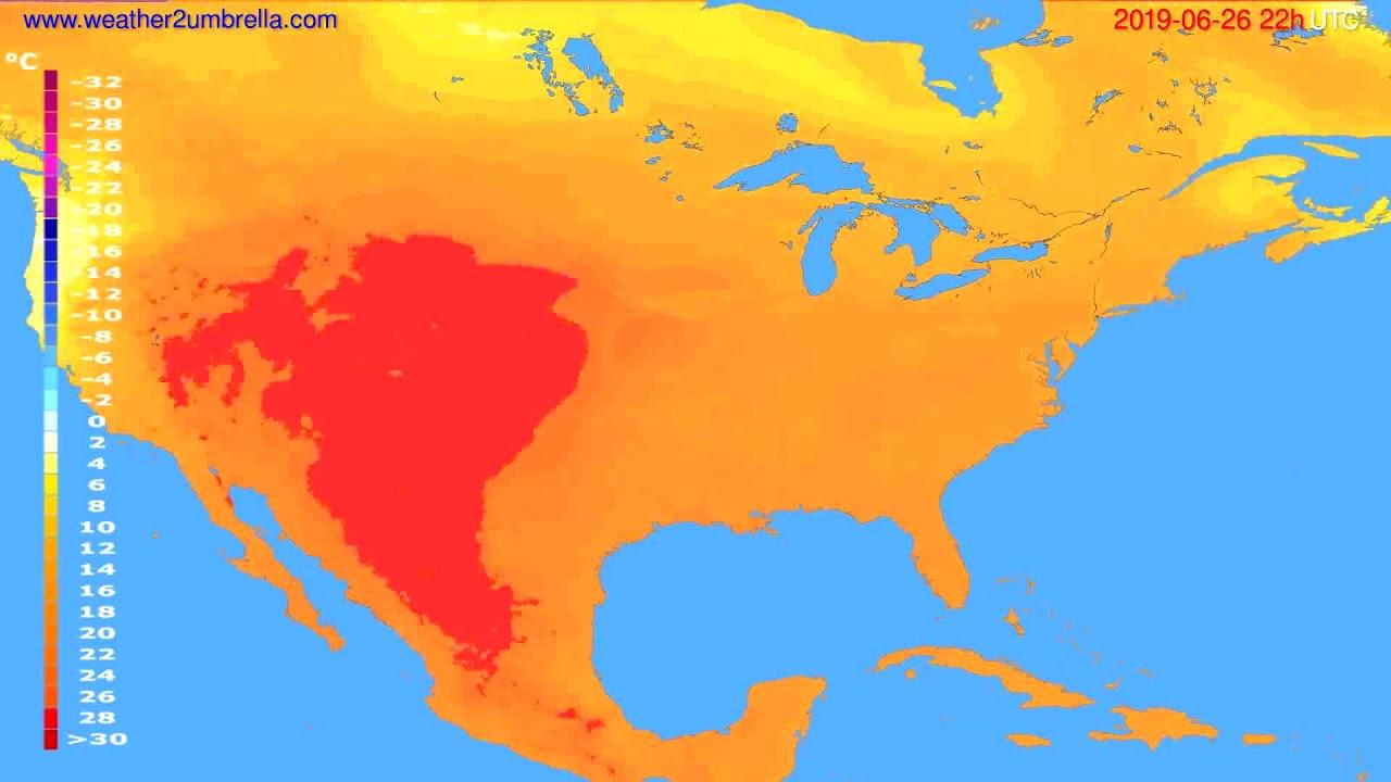 Temperature forecast USA & Canada // modelrun: 12h UTC 2019-06-24