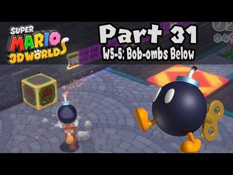 """Super Mario 3D World - Part 31: World 5-5 """"Bob-ombs Below"""" 100% Walkthrough!"""