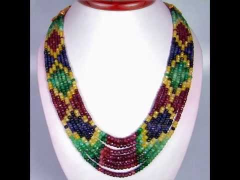 7 Strands Natural Untreated Emerald Ruby Sapphire Beaded Rainbow Necklace
