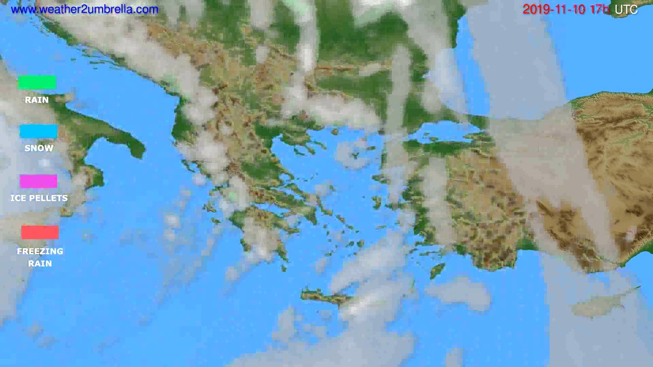 Precipitation forecast Greece // modelrun: 12h UTC 2019-11-09