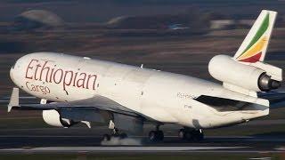 Exotic MD-11 Arrival - Ethiopian Cargo McDonnel Douglas MD-11 - Cargospotter ( HD )