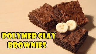 Polymer clay; 'Realistic' brownies (+banana cane) Tutorial - YouTube