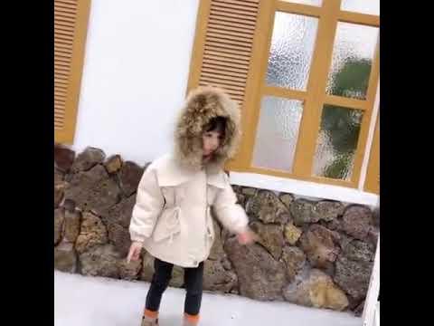 Джинсовая куртка для маленьких девочек теплая зимняя одежда с хлопковой … видео