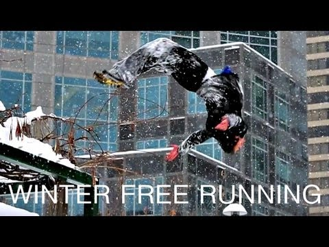 Winter Free Running Ice Parkour