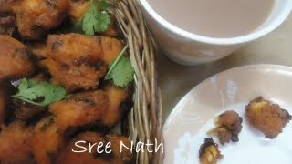 Sree Nath - Rice Pakoda Recipe - Made With Left Over Rice - Tea Time Snacks