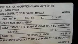 10. atv yamaha timing valve adjust