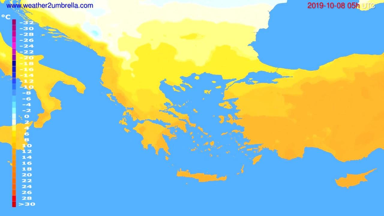 Temperature forecast Greece // modelrun: 00h UTC 2019-10-06