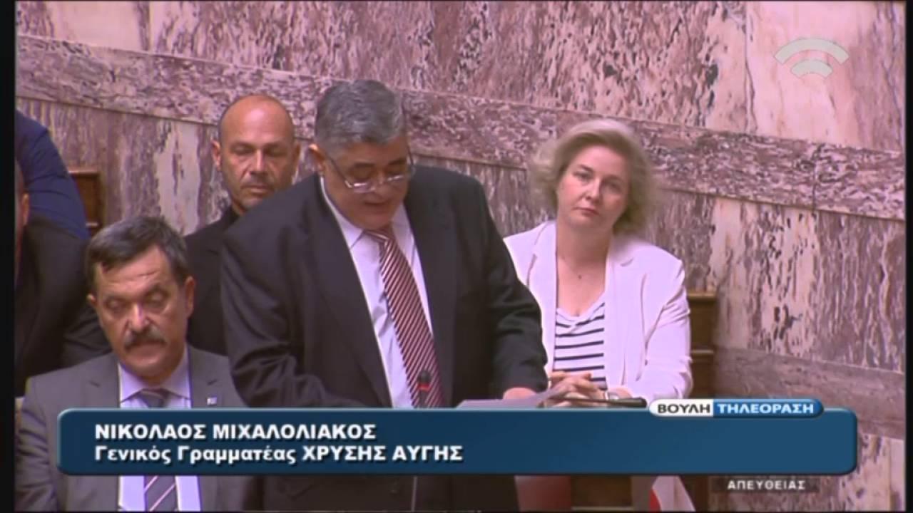 Ν. Μιχαλολιάκος (Γ.Γ. Χ.Α.) Συζήτηση για σύσταση Εξεταστικής Επιτροπής (15/04/2016)