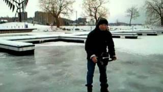 4. My Homemade Electric Ice Auger Using 2000 lb 12V DC Winch (2011))