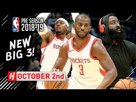 Chris Paul, James Harden & Carmelo Anthony Full Highlights vs Grizzlies 10/2/2018