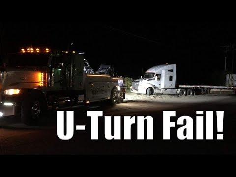 Tractor Trailer U Turn Fail | Gets Stuck!