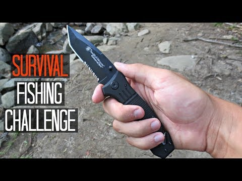 Survival Fishing Challenge!! (Knife Only!) NO rod/lures/etc