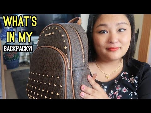 (WHATS IN MY BAG?? (Michael Kors Abbey Studded Backpack Pros & Cons) - Duration: 10 minutes.)