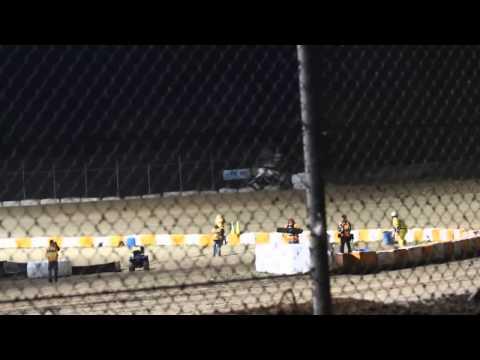 Tony Stewart crashes at the Oshweken Speedway during Summer Nationals