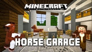 Minecraft Tutorial:  How To Make A Horse Garage With Piston Door (Modern House Build Ep. 21)