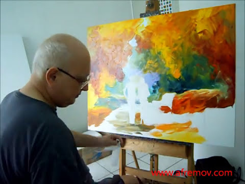 Artist Leonid Afremov painting a new piece by palette knife, October 26th
