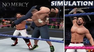 WWE 2K16 SIMULATION: AJ Styles vs Dean Ambrose vs John Cena | No Mercy 2016 Highlights