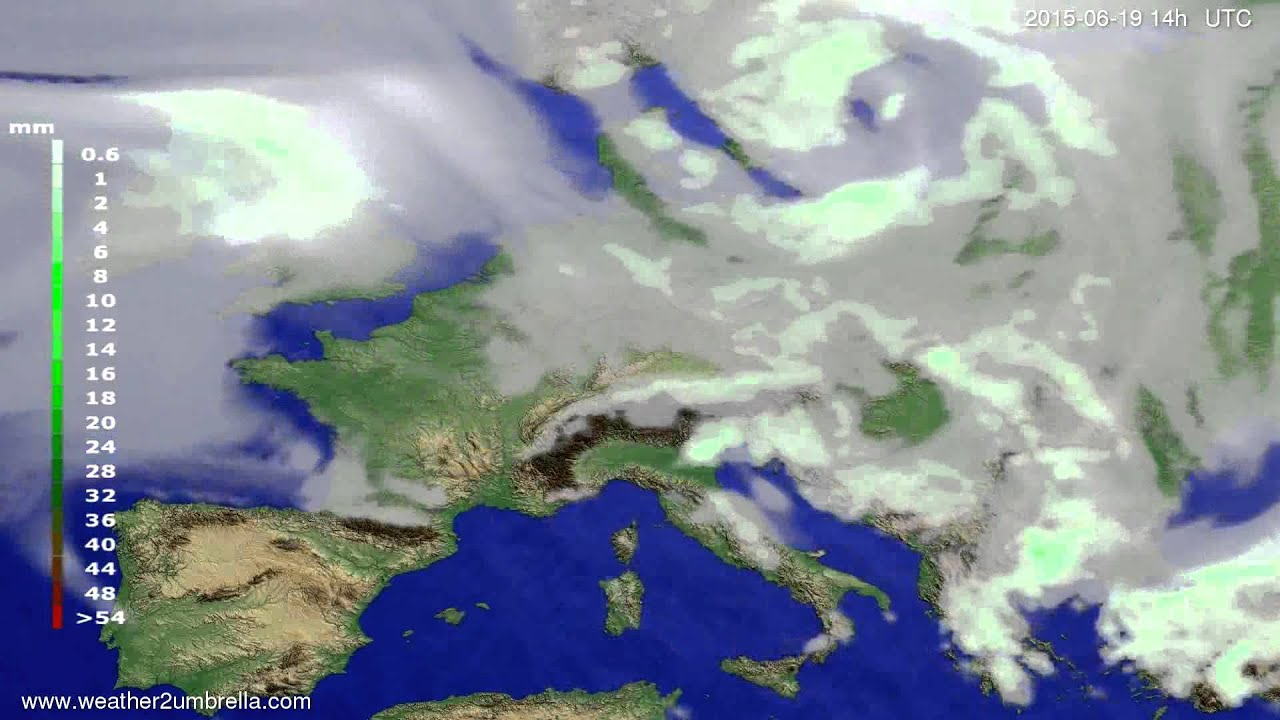 Precipitation forecast Europe 2015-06-15