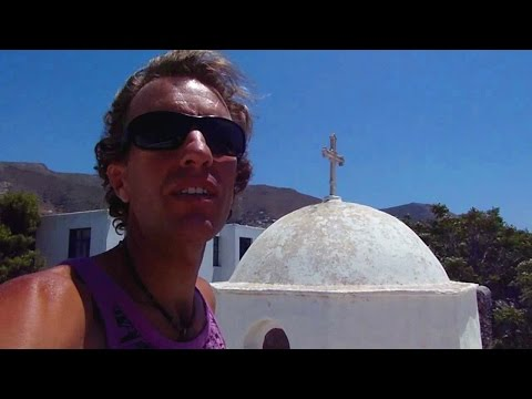 Paros, Greece: Walking from my $11 hotel room to the Aegean Sea