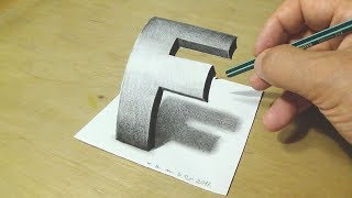 image of How to Draw 3D Letter F - Drawing Curved Letter F with Pencil - Trick Art for Kids and Adults
