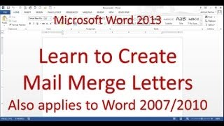 Mail Merge Letter (Word 2013)