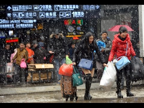 The annual mass migration of Chinese travellers heading home for Lunar New Year celebrations is in full swing at Shanghai's main train station.