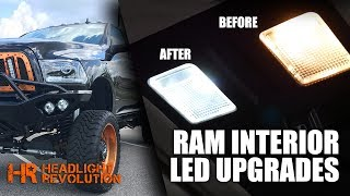 Dodge Ram Interior LED bulb kits are located here: https://headlightrevolution.com/vehicles/dodge-ram/2003-2017-dodge-ram/interior-lighting-upgrades/Upgrading the lighting on your Ram truck interior is super simple especially when using our vehicle specific kits. We send you exactly what you need, and this video shows you how to do the install.Be careful when removing the old bulbs that you don't short out the metal contacts and blow a fuse. These installs are super simple, but you gotta use common sense!Available in blindingly bright white, red, blue and other colors! Contact us if you want to mix-match colors.sales@HeadlightRevolution.comPart Numbers for Individual Bulbs are as follows:Rear Dome Light:https://headlightrevolution.com/gtr-lighting-42mm-ultra-series-festoon-led-bulbs/Front Map Light:https://headlightrevolution.com/gtr-lighting-crystal-lens-diffuser-t10-194-168-led-bulbs/Glove Box Light:https://headlightrevolution.com/gtr-lighting-crystal-lens-diffuser-t10-194-168-led-bulbs/Vanity Light:https://headlightrevolution.com/gtr-lighting-29mm-vanity-festoon-3-led-bulbs/