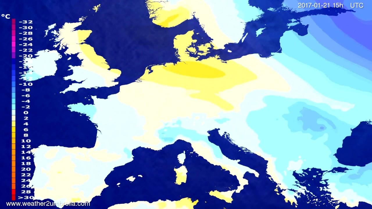 Temperature forecast Europe 2017-01-19